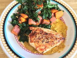 Roasted chicken with kale, sweet potatoes, and artichoke romesco