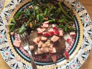 Steaks with broccoli rabe and radish butter
